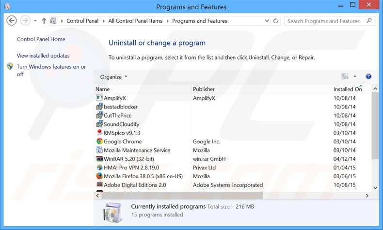 Best Results adware uninstall via Control Panel