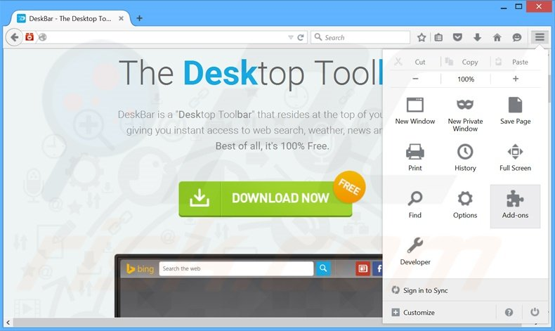 Removing DeskBar ads from Mozilla Firefox step 1