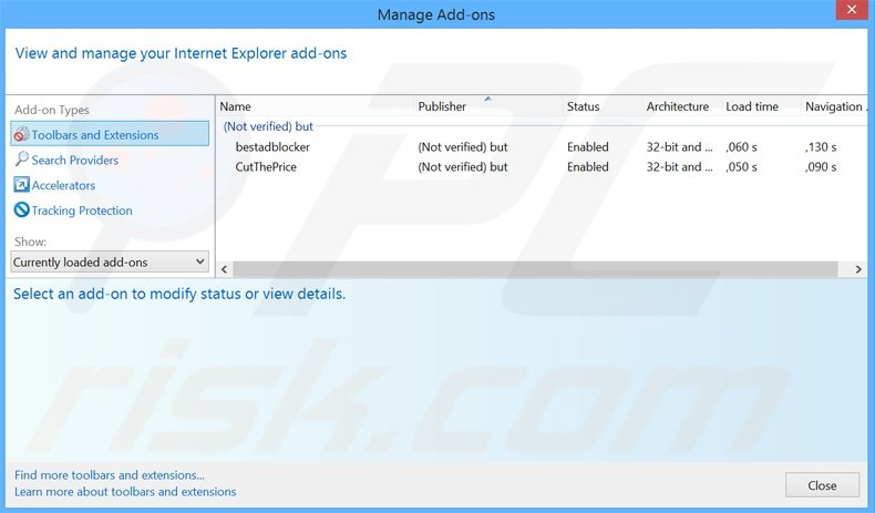Removing DeskBar ads from Internet Explorer step 2