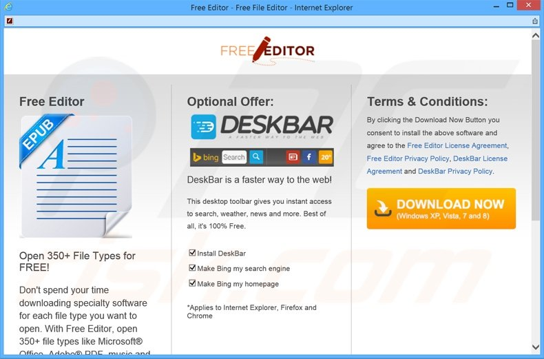 Website used to promote DeskBar adware toolbar