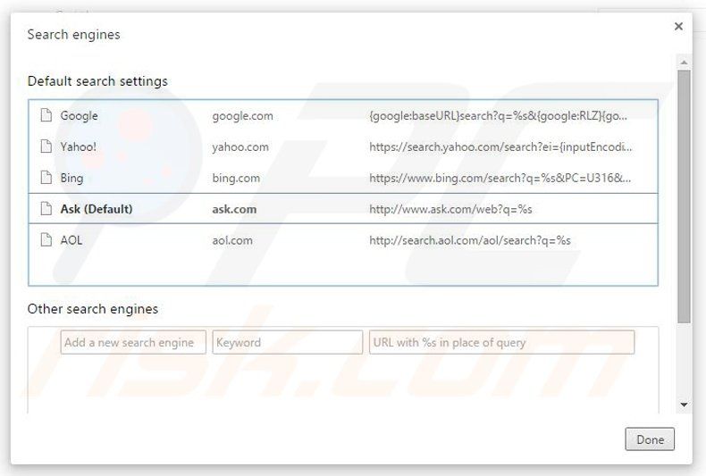 how to remove other search engines from chrome