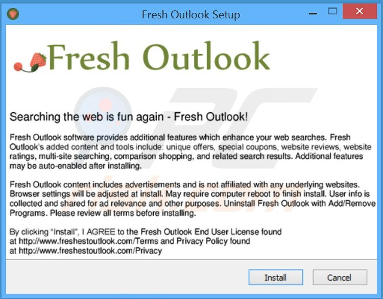 fresh outlook adware installer setup