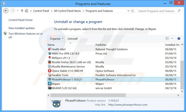 phraseprofessor adware uninstall via Control Panel