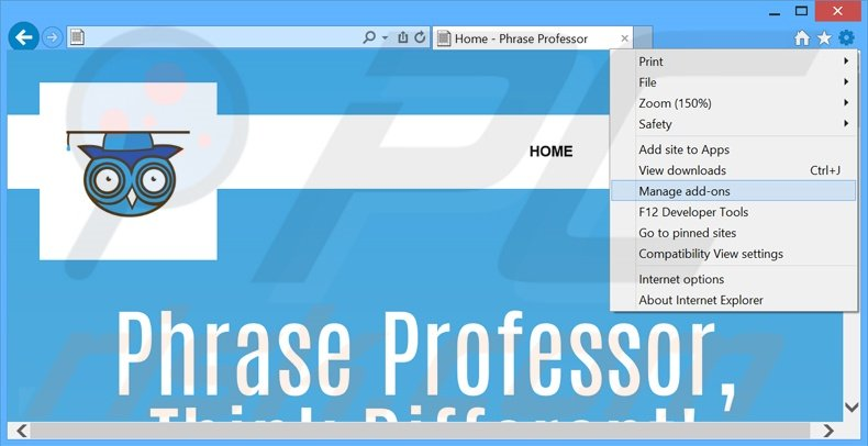 Removing PhraseProfessor ads from Internet Explorer step 1