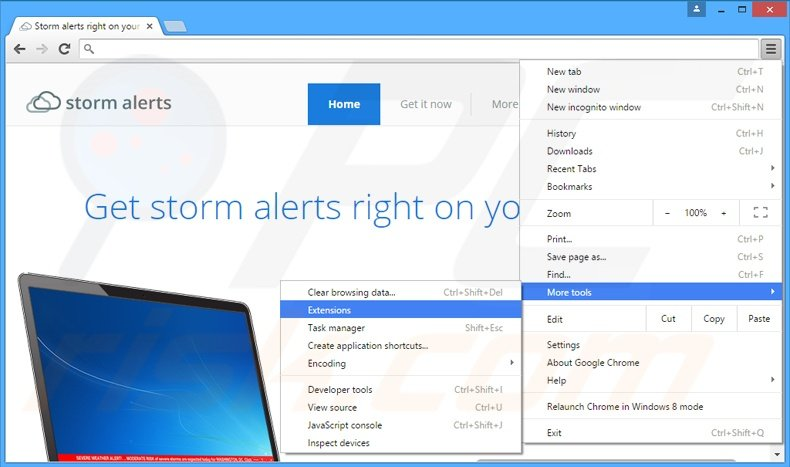 Removing StormAlerts  ads from Google Chrome step 1