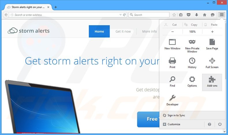 Removing StormAlerts ads from Mozilla Firefox step 1