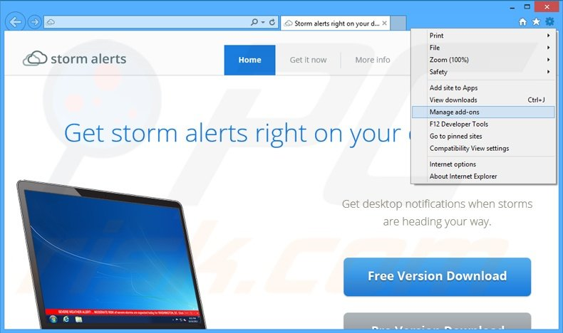 Removing StormAlerts ads from Internet Explorer step 1