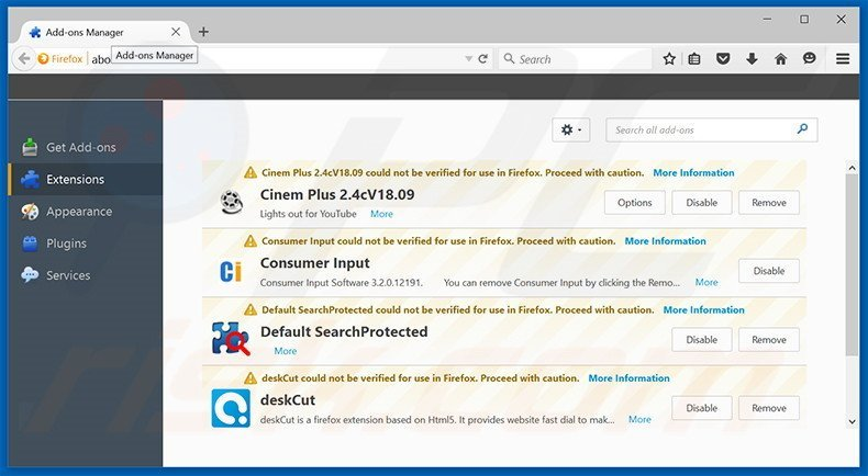 Removing Browsing Secure ads from Mozilla Firefox step 2