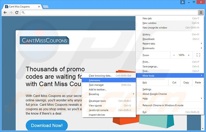Removing Cant Miss Coupons  ads from Google Chrome step 1