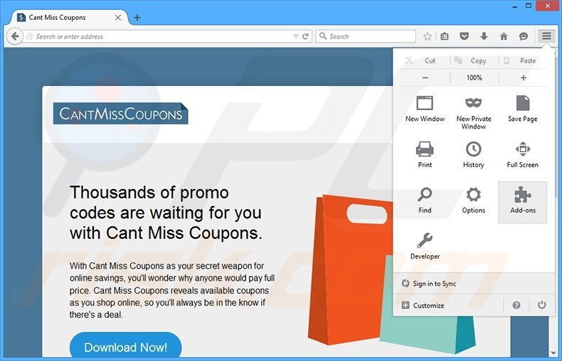 Removing Cant Miss Coupons ads from Mozilla Firefox step 1