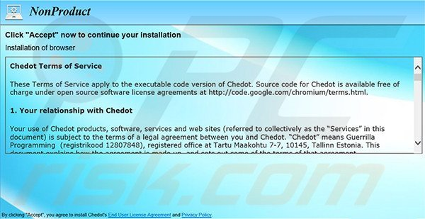 Deceitful software installer used to distribute Chedot Browser Browser