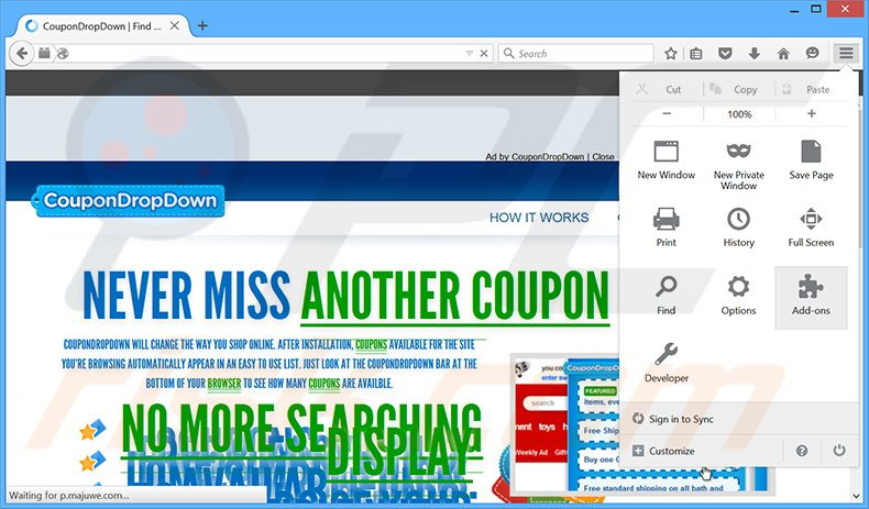 Removing CouponDropDown ads from Mozilla Firefox step 1