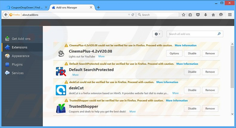 Removing CouponDropDown ads from Mozilla Firefox step 2