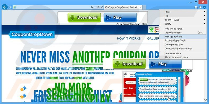 Removing CouponDropDown ads from Internet Explorer step 1