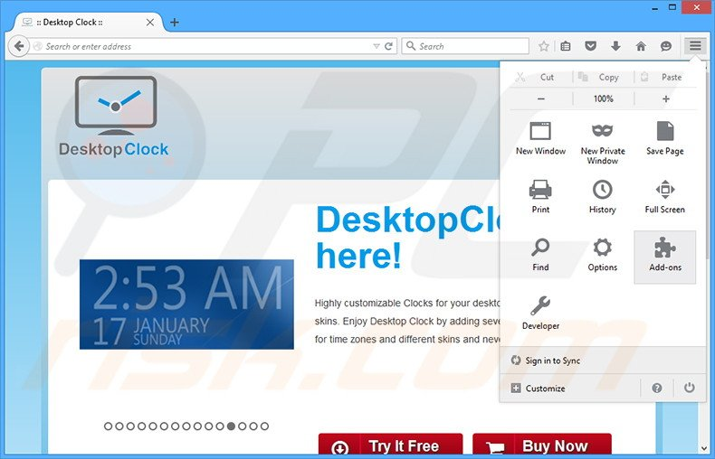 Removing DesktopClock ads from Mozilla Firefox step 1