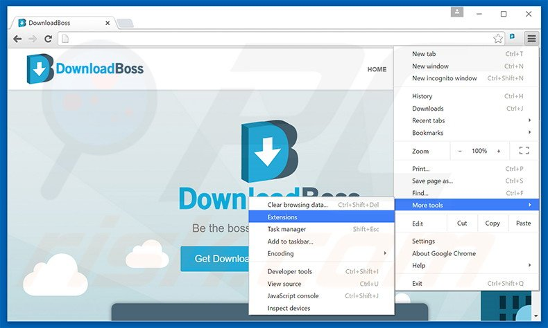 Removing DownloadBoss  ads from Google Chrome step 1