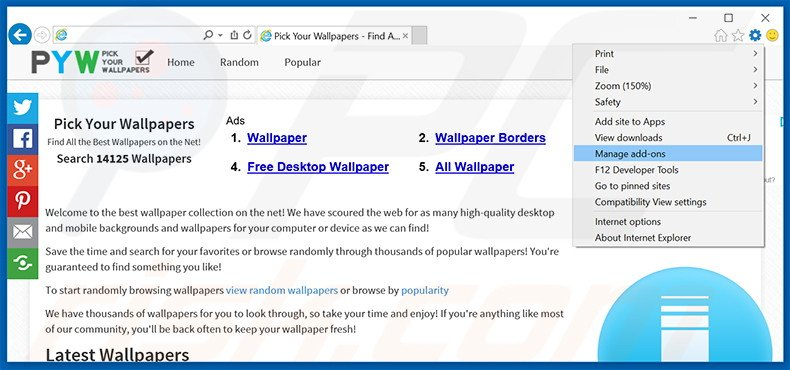 Removing Pick Your Wallpapers ads from Internet Explorer step 1
