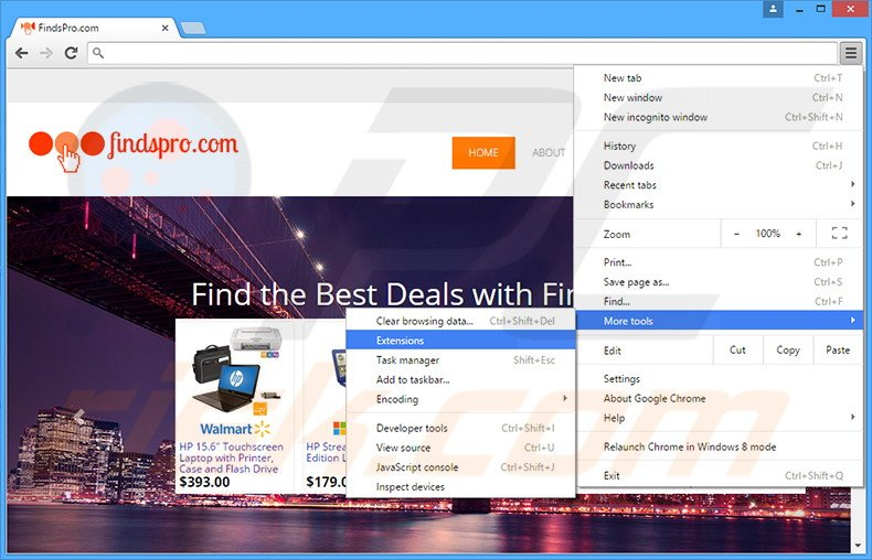 Removing FindsPro  ads from Google Chrome step 1