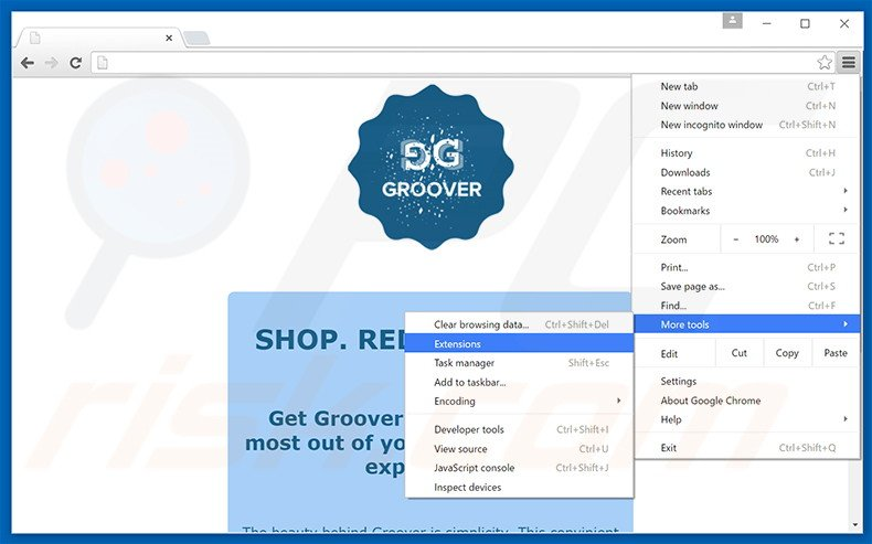 Removing Groover  ads from Google Chrome step 1