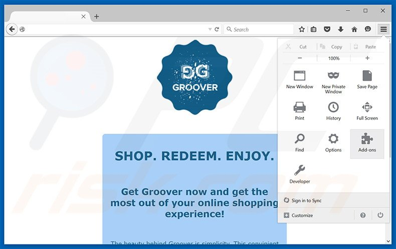Removing Groover ads from Mozilla Firefox step 1