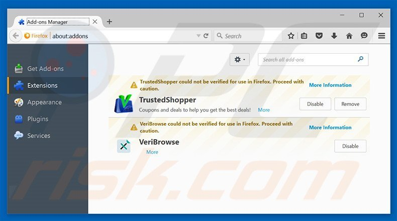 Removing Groover ads from Mozilla Firefox step 2