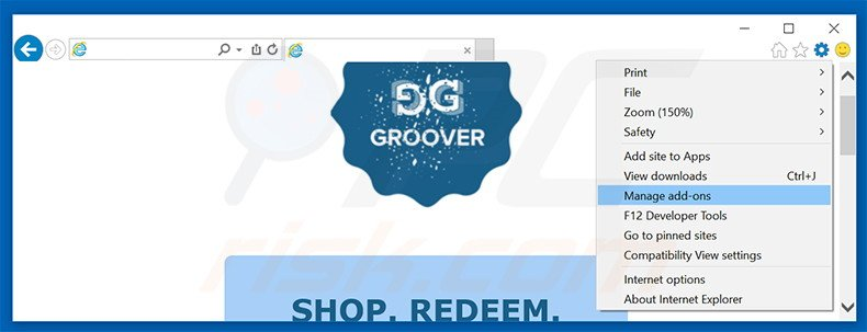 Removing Groover ads from Internet Explorer step 1
