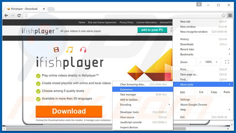 Removing ifishplayer  ads from Google Chrome step 1