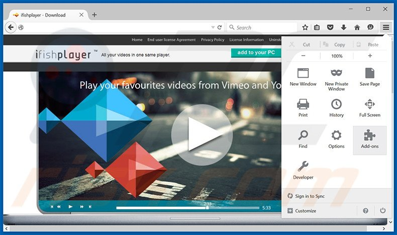 Removing ifishplayer ads from Mozilla Firefox step 1