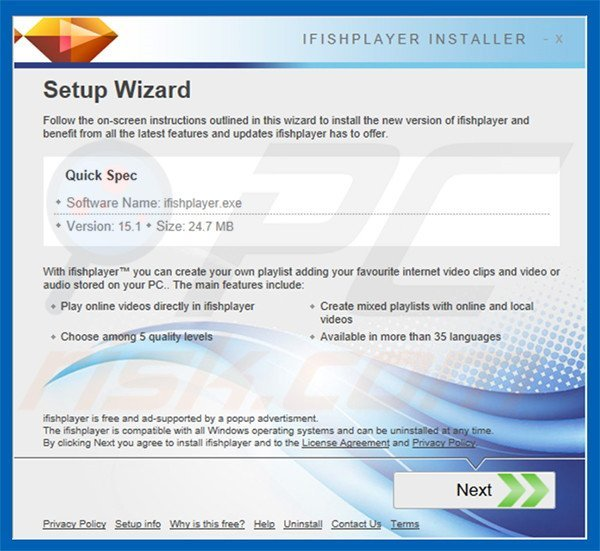 Official ifishplayer adware installation setup