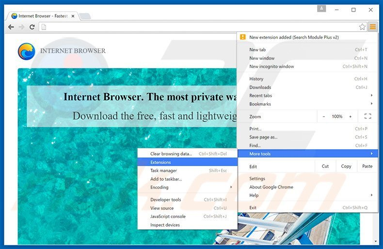 Removing Internet Browser ads from Google Chrome step 1