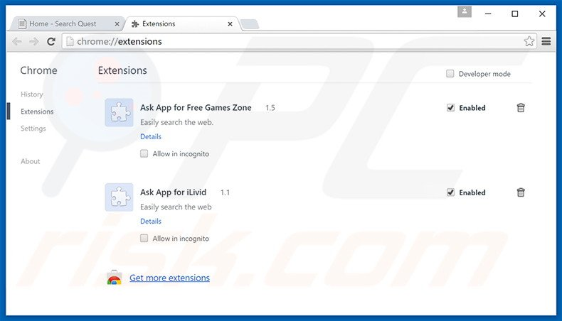 Removing Internet Browser ads from Google Chrome step 2