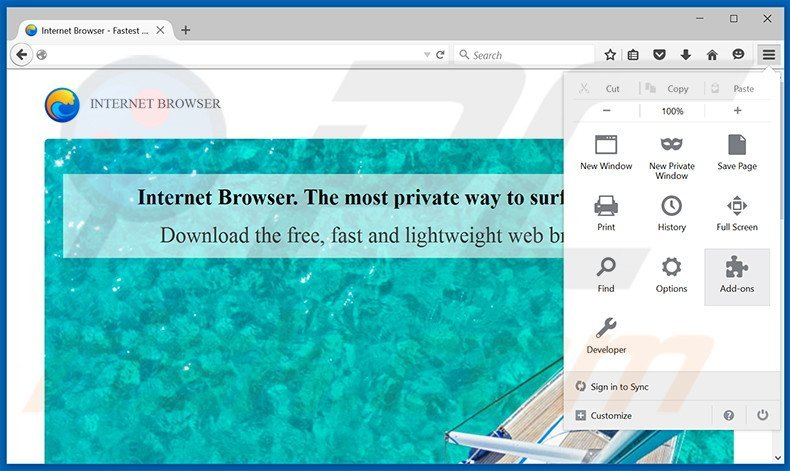 Removing Internet Browser ads from Mozilla Firefox step 1