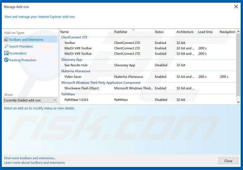 Removing Internet Browser ads from Internet Explorer step 2