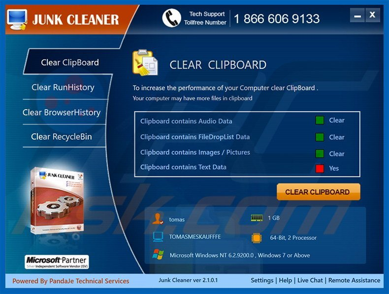 Deceptive adware-type application Junk Cleaner