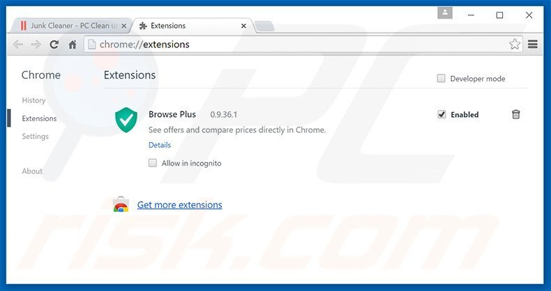 Removing Junk Cleaner ads from Google Chrome step 2