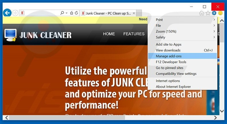 Removing Junk Cleaner ads from Internet Explorer step 1