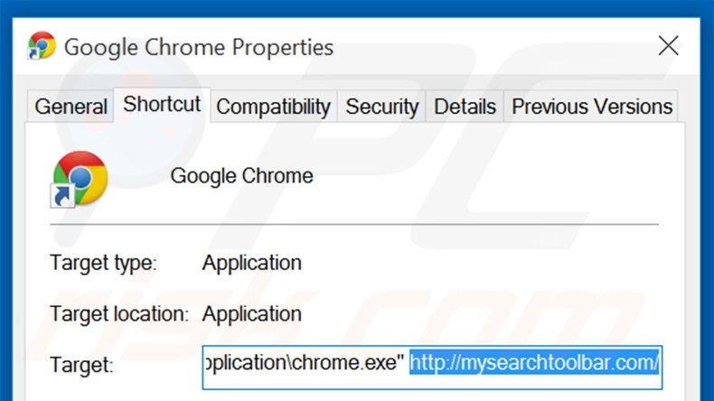 Removing mysearchtoolbar.com from Google Chrome shortcut target step 2