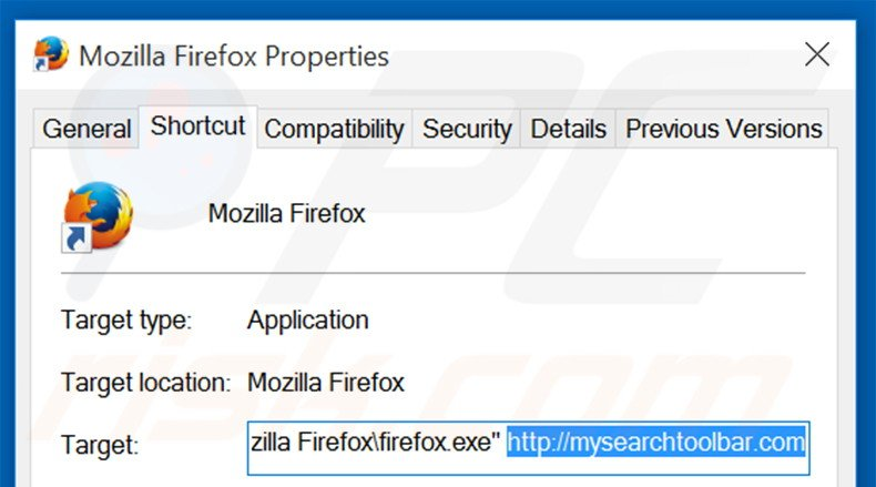 Removing mysearchtoolbar.com from Mozilla Firefox shortcut target step 2