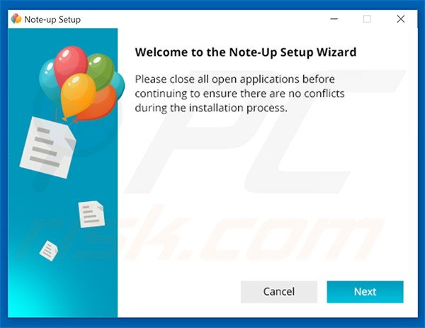 Official Note-up adware installation setup