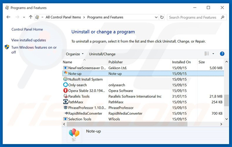 Note-up adware uninstall via Control Panel