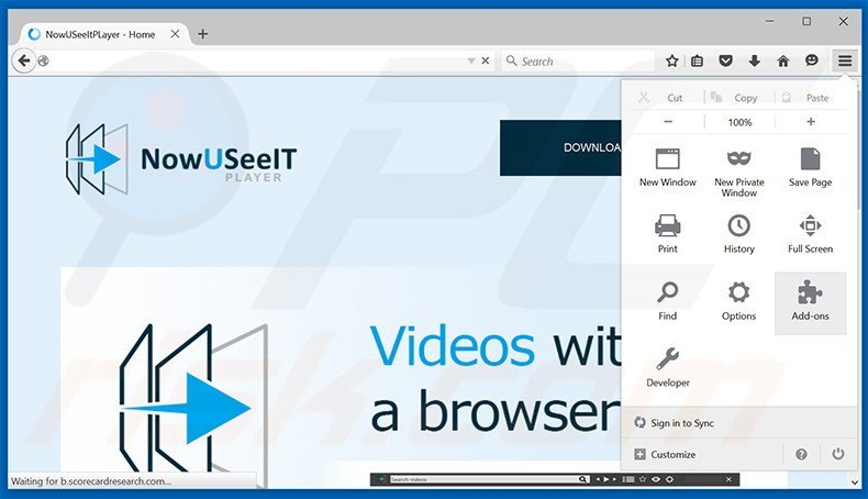 Removing NowUSeeIt Player ads from Mozilla Firefox step 1