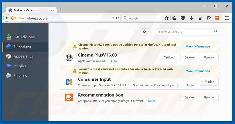 Removing RecommendationBox ads from Mozilla Firefox step 2
