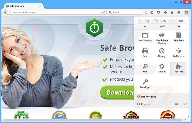 Removing Safe Browsing ads from Mozilla Firefox step 1