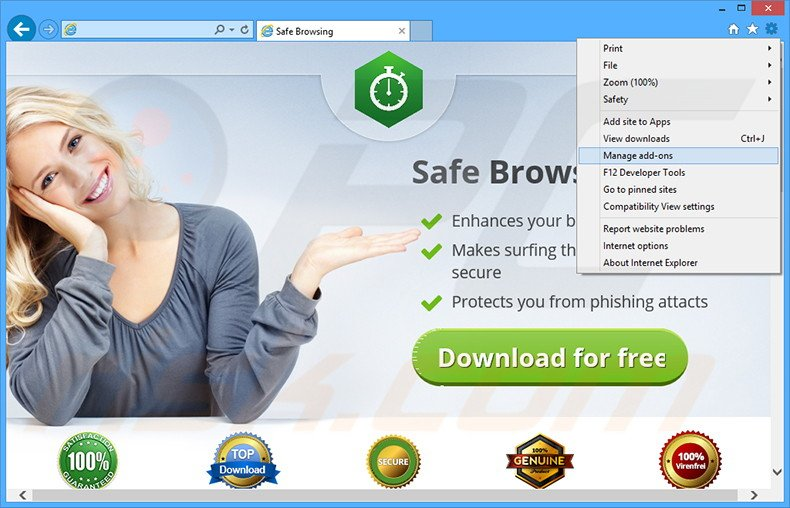 Removing Safe Browsing ads from Internet Explorer step 1