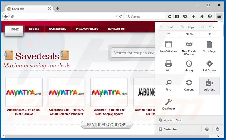 Removing SaveDeals ads from Mozilla Firefox step 1