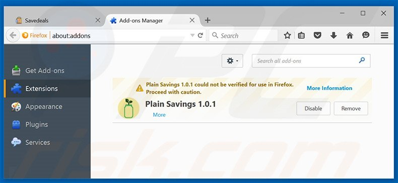 Removing SaveDeals ads from Mozilla Firefox step 2