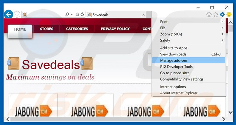 Removing SaveDeals ads from Internet Explorer step 1