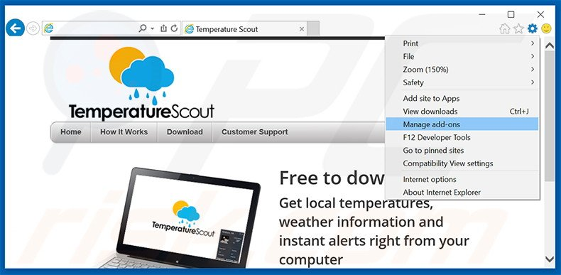 Removing Temperature Scout ads from Internet Explorer step 1