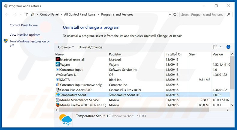 Temperature Scout adware uninstall via Control Panel