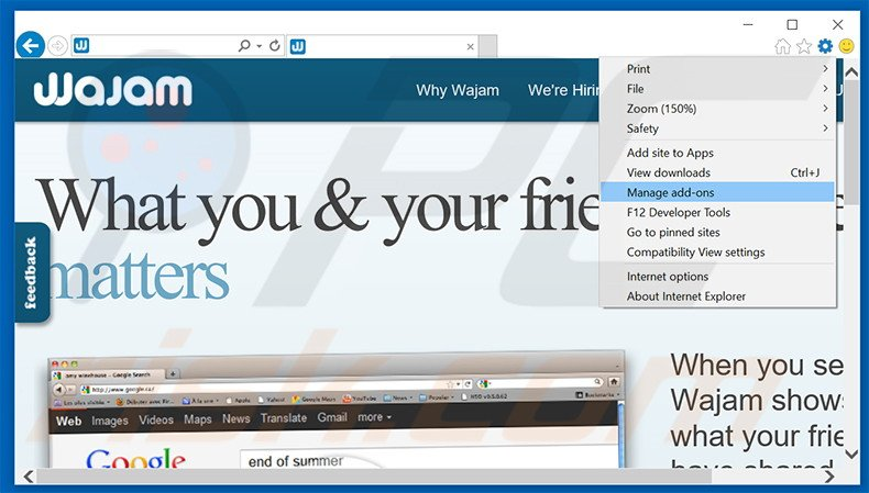 Removing Wajam ads from Internet Explorer step 1